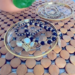 Pair of Clear Ring Dishes/ Trinkets with Gold Rim